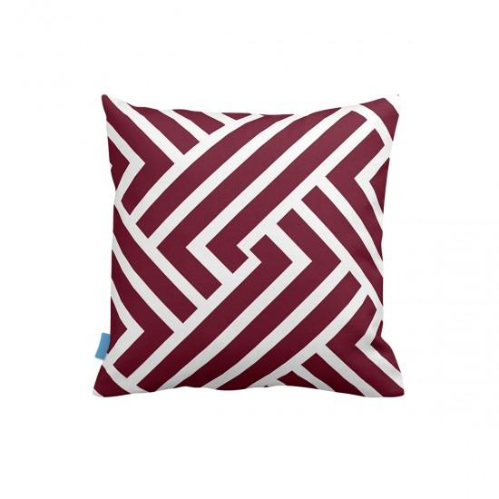 Bordo Geometrik Desenli Dekoratif Yastık Kılıfı