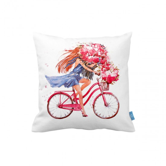 Bisikletli Kız Dekoratif Yastık Kılıfı