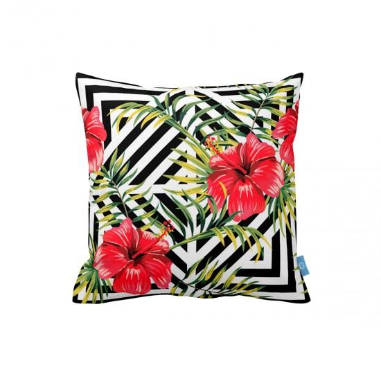 Çiçekler Geometrik Dekoratif Yastık Kılıfı