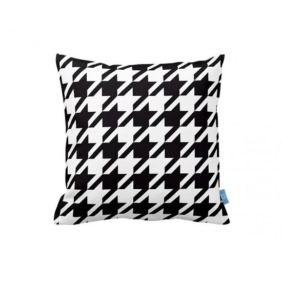 Siyah Beyaz Geometrik Dekoratif Yastık Kılıfı