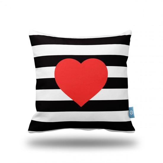 Kırmızı Kalp Siyah Şeritler Dekoratif Yastık Kılıfı