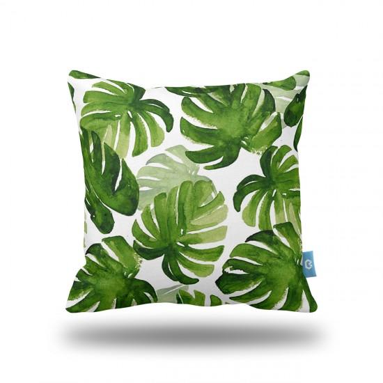 Tropikal Yapraklar Suluboya Dekoratif Yastık Kılıfı