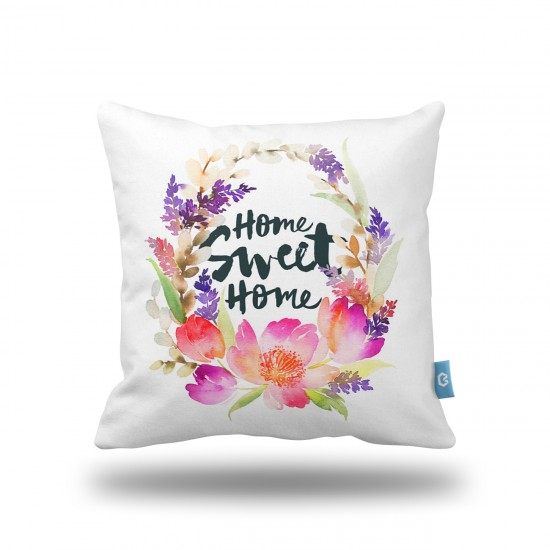 Home Sweet Home Çiçekler Dekoratif Yastık Kılıfı