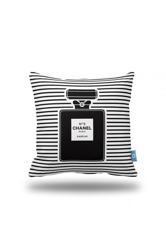 Chanel Siyah Beyaz Şeritler Dekoratif Yastık Kılıfı