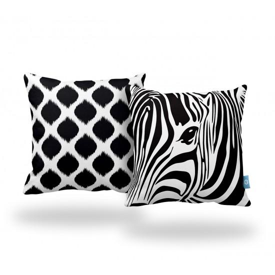 Zebra Desenli Dekoratif Yastık Kılıf Seti - 2 Adet