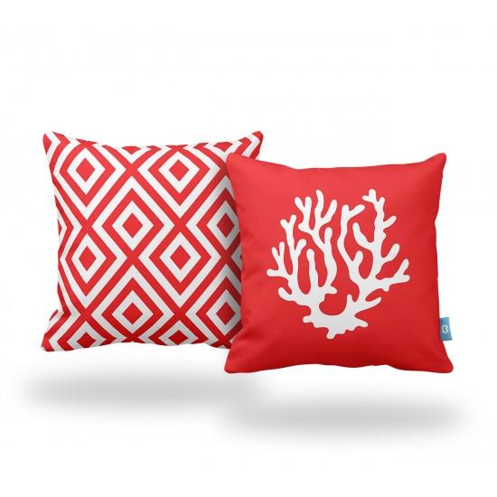 Kırmızı Mercan Desenli Dekoratif Yastık Kılıf Seti - 2 Adet