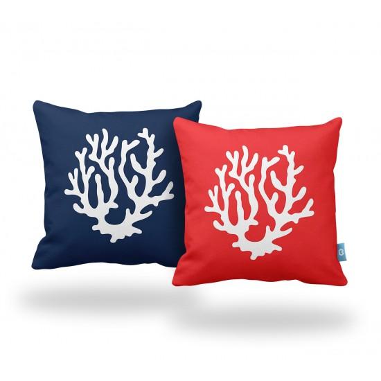 Lacivert-Kırmızı Mercan Desenli Dekoratif Yastık Kılıf Seti - 2 Adet