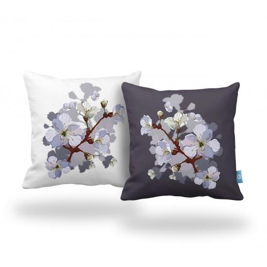 Beyaz-Mor Çiçek Desenli Dekoratif Yastık Kılıf Seti - 2 Adet