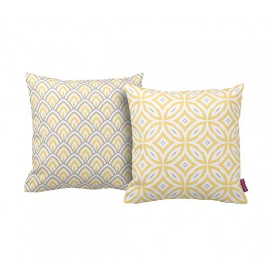 Sarı-Gri Geometrik Desenli Dekoratif Yastık Kılıf Seti - 2 Adet