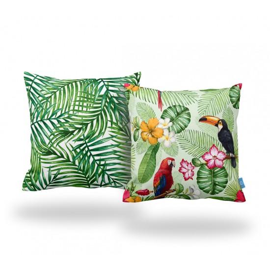 Tropikal Dekoratif Yastık Kılıfı Seti  - 2 Adet