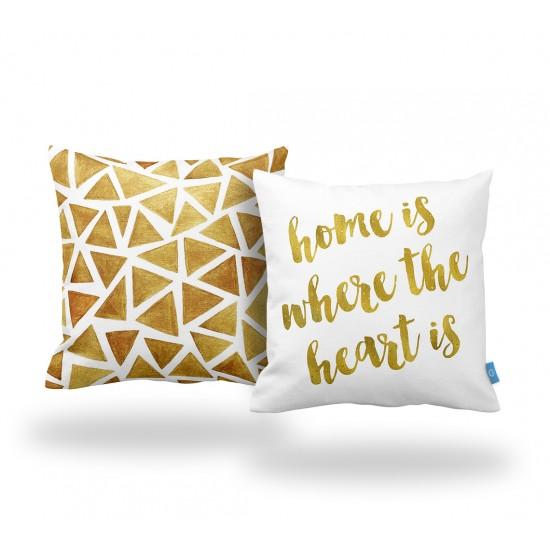 HOME IS... Dekoratif Yastık Kılıfı Seti  - 2 Adet