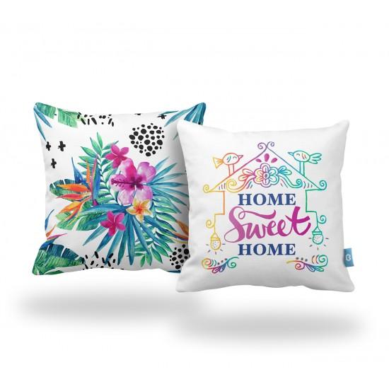 Home Sweet Home Renkli Dekoratif Yastık Kılıf Seti  - 2 Adet