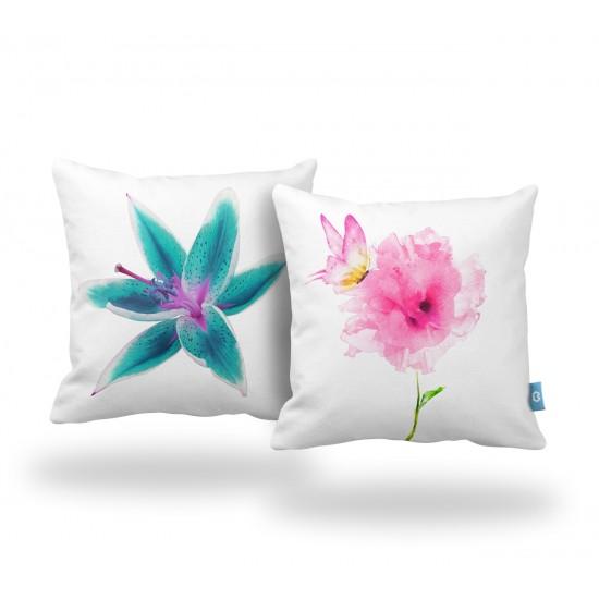 Çiçek & Kelebek Dekoratif Yastık Kılıf Seti  - 2 Adet