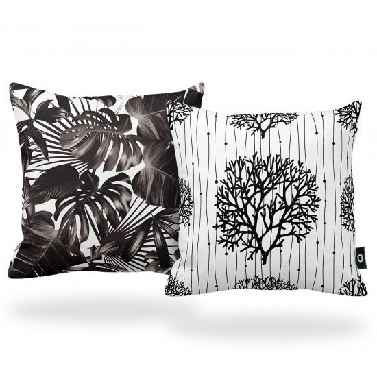 Mercan ve Yaprak Desenli Dekoratif Yastık Kılıf Seti - 2 Adet