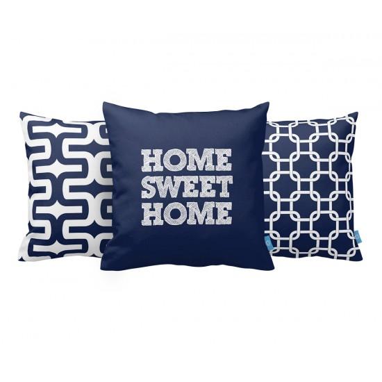 Home Sweet Home Lacivert Dekoratif Yastık Kılıf Seti PL3MX010 - 3 Adet