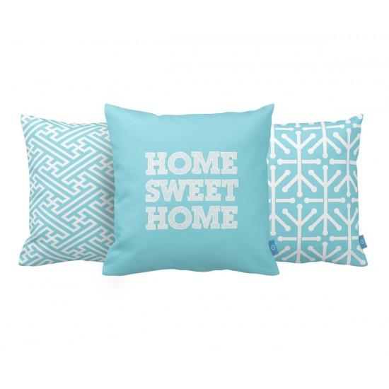 Turkuaz Home Sweet Home Dekoratif Yastık Kılıf Seti PL3MX012 - 3 Adet