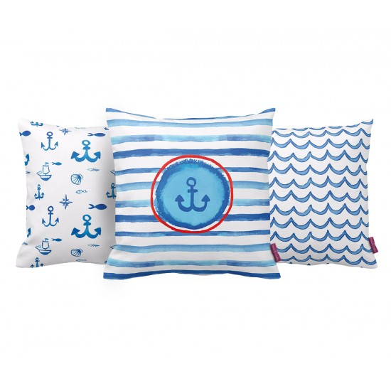 Marine Mavi-Beyaz Dekoratif Yastık Kılıf Seti PL3MX017 - 3 Adet