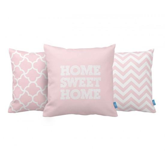 Home Sweet Home Pembe Dekoratif Yastık Kılıf Seti PL3MX028 - 3 Adet