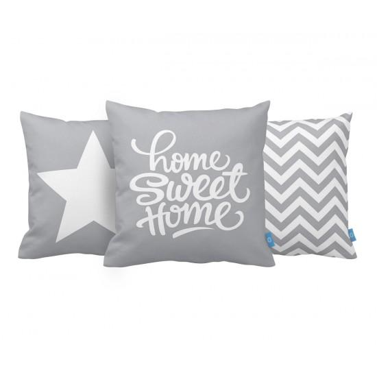Home Sweet Home Gri Dekoratif Yastık Kılıf Seti PL3MX030 - 3 Adet