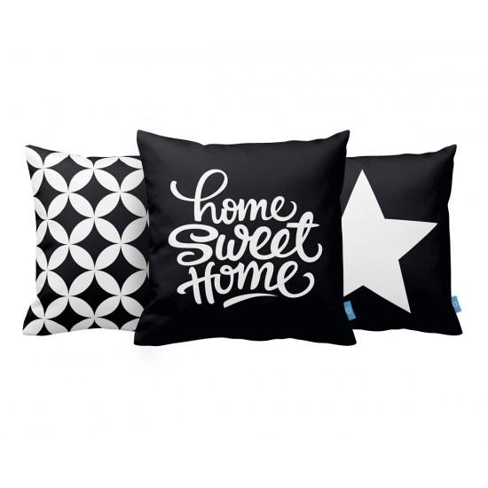Home Sweet Home SB Dekoratif Yastık Kılıf Seti PL3MX036 - 3 Adet