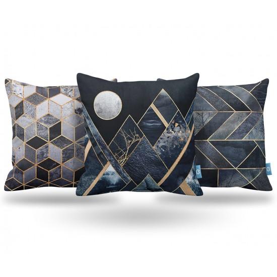 Geometrik Dekoratif Yastık Kılıf Seti PL3MX067 - 3 Adet