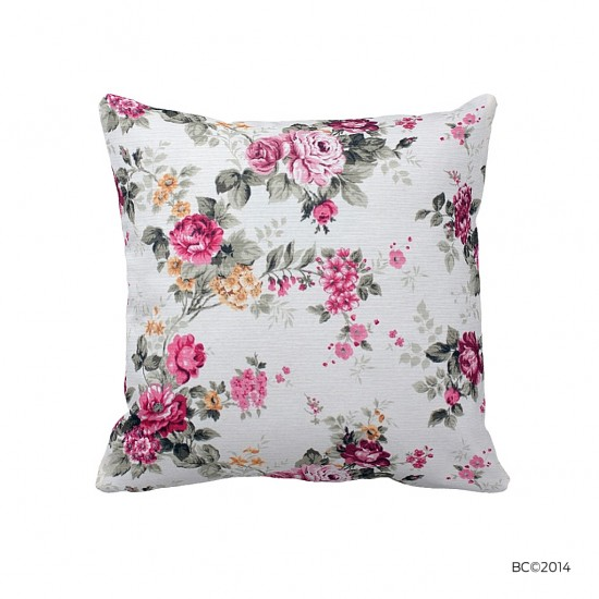Pembe Çiçekli Dekoratif Yastık Kılıfı