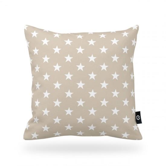 Dekoratif Yastık Kılıfı Yıldızlar Bej