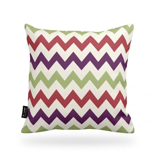 Dekoratif Yastık Kılıfı Zigzag Renkli