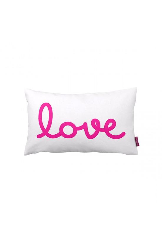 Beyaz Love Dikdörtgen Dekoratif Yastık
