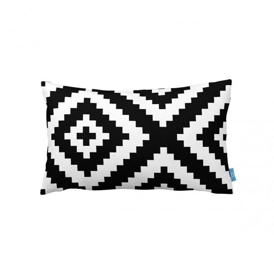 Siyah-Beyaz Piksel Desen  Dekoratif Kırlent Kılıfı
