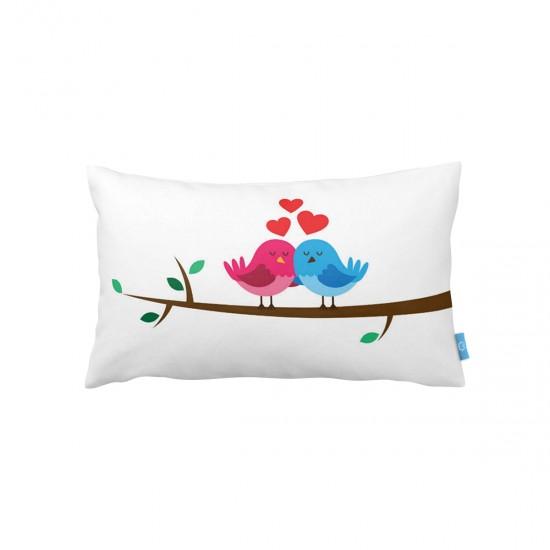 Aşık Kuşlar Dikdörtgen Dekoratif Yastık Kılıfı