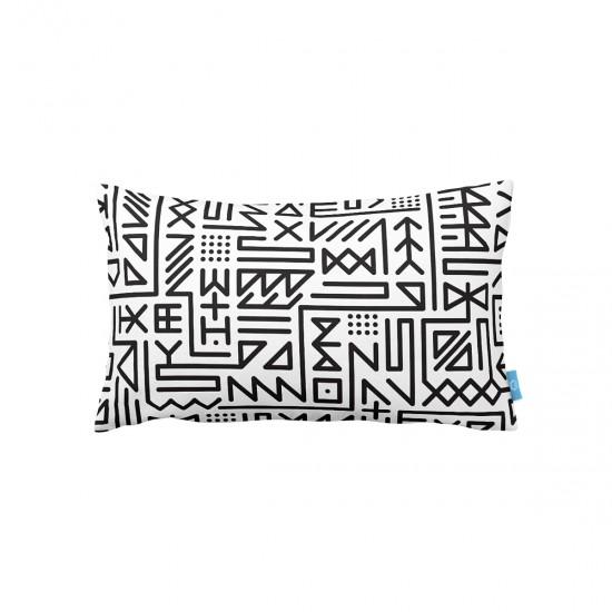 Beyaz Geometrik Desenli  Dekoratif Kırlent Kılıfı