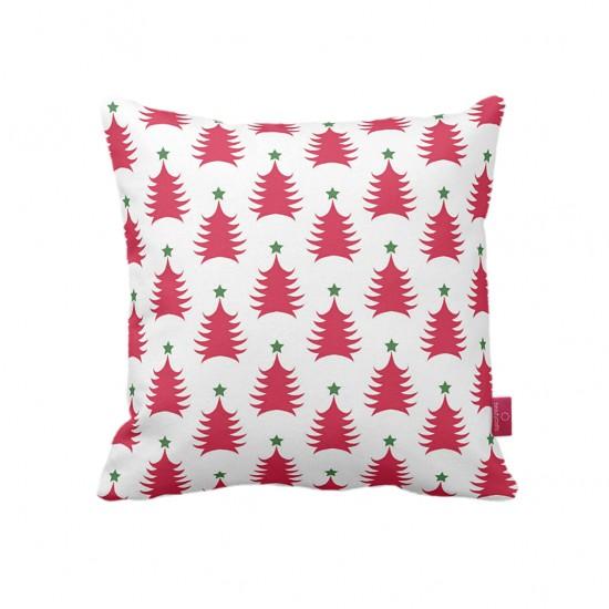 Kırmızı Çam Desenli Dekoratif Yastık Kılıfı