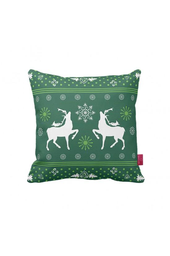 Yeşil Geyik Desenli Dekoratif Yastık Kılıfı