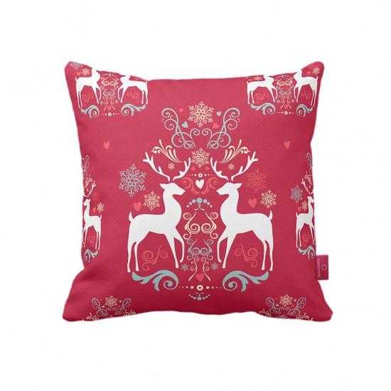 Çift Geyik Kırmızı Dekoratif Yastık Kılıfı