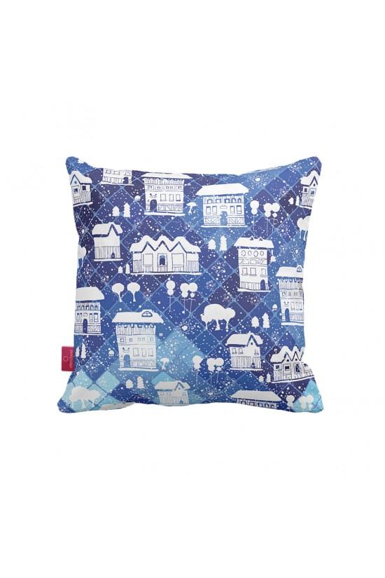 Mavi Ev Desenli Dekoratif Yastık Kılıfı