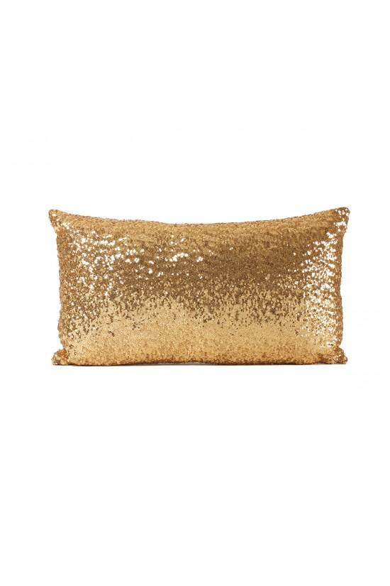 Altın Payetli Dikdörtgen Dekoratif Yastık Kılıfı