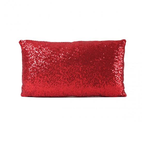 Kırmızı Payetli Dikdörtgen Dekoratif Yastık Kılıfı