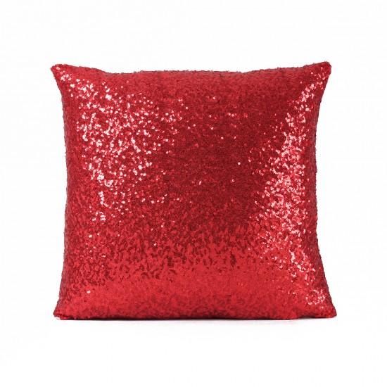 Kırmızı Payetli Dekoratif Yastık Kılıfı