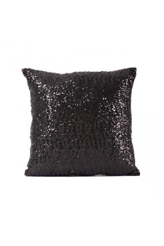 Siyah Payetli Dekoratif Yastık Kılıfı