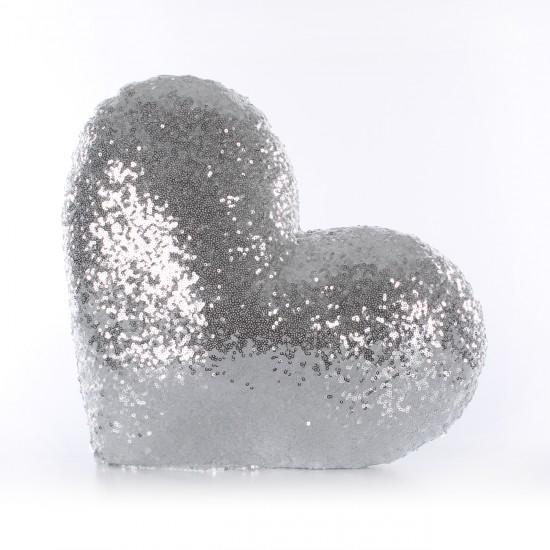 Gümüş Kalp Şekilli Payetli Dekoratif Yastık