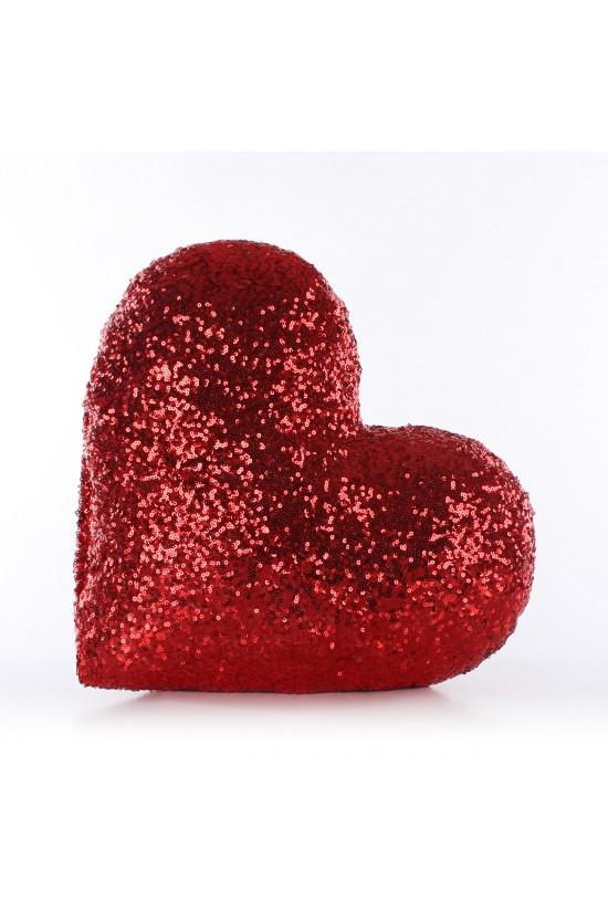 Kırmızı Kalp Şekilli Payetli Dekoratif Yastık