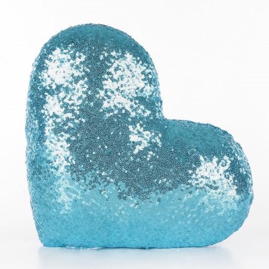Mavi Kalp Şekilli Payetli Dekoratif Yastık