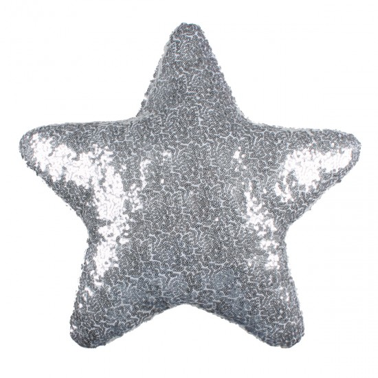 Gümüş Yıldız Şekilli Payetli Dekoratif Yastık