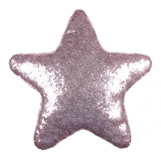 Pembe Yıldız Şekilli Payetli Dekoratif Yastık
