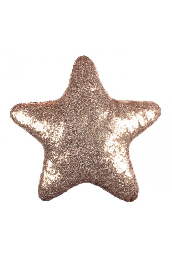 Altın Yıldız Şekilli Payetli Dekoratif Yastık