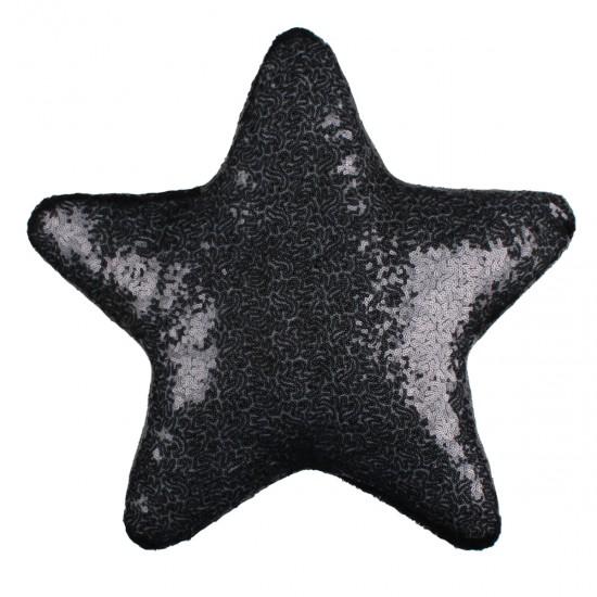 Siyah Yıldız Şekilli Payetli Dekoratif Yastık