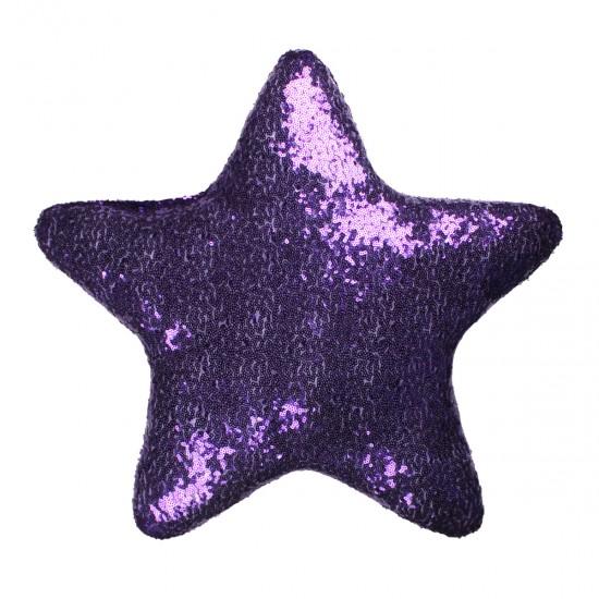 Mor Yıldız Şekilli Payetli Dekoratif Yastık