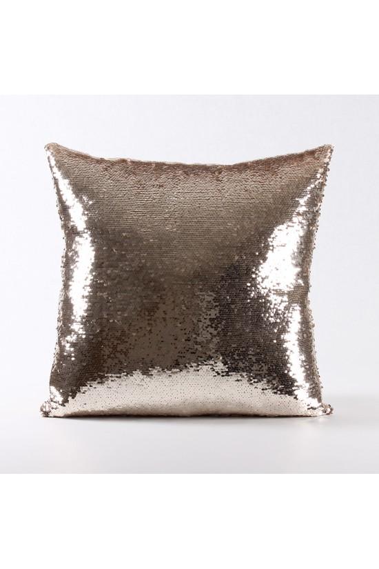 Rengi Değişebilen Pullu Kırlent (Altın / Krem) - PP4301