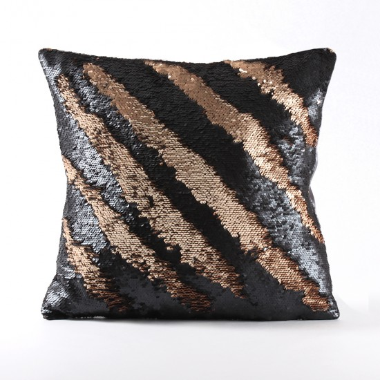 Rengi Değişebilen Pullu Kırlent (Siyah / Altın) - PP4302